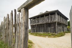 Old buildings in Plimoth plantation at Plymouth, MA stock images