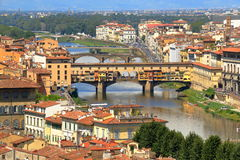 Old buildings and Ponte Vecchio in Florence, Italy Royalty Free Stock Photos