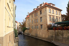 Old buildings and River Certovka in the district Mala strana, Pr Royalty Free Stock Image