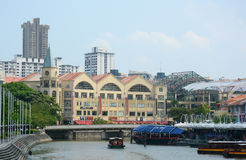 Old buildings with the river at Clark Quay in Singapore Stock Photos
