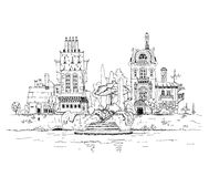 Old Buildings on the river. Sketch collection Stock Images