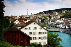 Old buildings on the riverbank of Limmat, Zurich, Switzerland Royalty Free Stock Photos