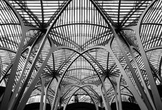 Detailed view of a vast, metal structure and roof seen covering old buildings. Old buildings seen are now fully enclosed by this vast metal structure which is Royalty Free Stock Images