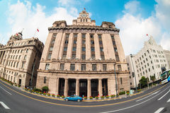 Old buildings in shanghai. With street scene of the bund Royalty Free Stock Image