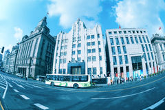 Old buildings in shanghai. Fish-eye view Stock Photos
