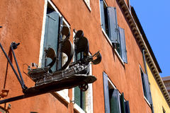 Old buildings ship decoration Venice Italy Royalty Free Stock Image