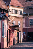 Old buildings in Sibiu, Romania. Image showing old buildings on the Eastern front of the Huet Square in Sibiu, Romania Stock Photo