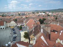 Old buildings in small square (Piata Mica), Sibiu Stock Image