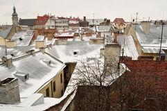 Old buildings and snow-covered roofs of the downtown in Lviv, Ukraine. Royalty Free Stock Photos