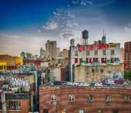Old Buildings of Southern Manhattan with city skyline on backgro Royalty Free Stock Images