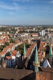 Old Town in Gdansk viewed from above. Old buildings and St. Mary`s Church`s towers at the Main Town Old Town in Gdansk, Poland, viewed from above on a sunny day Stock Photography