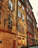 The old buildings in Stockholm stock images