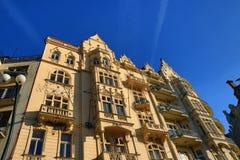 Old Buildings, Street Smetanovo nábřeží, New Town, Prague, Czech Republic Stock Photo