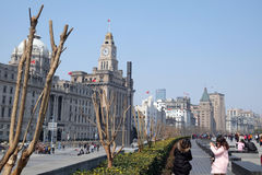 Old buildings and street view in Waitan of Shanghai. China Royalty Free Stock Photo