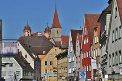 Old buildings and temples at the historic center  of  Ellwangen, Royalty Free Stock Photography