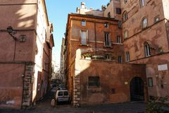 Old buildings with terraces in Piazza dell Oro in Rome Royalty Free Stock Photography