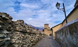 Old buildings in the Old town of Aosta Italy Stock Image