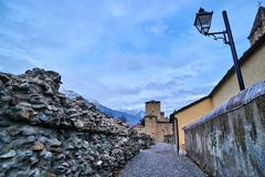 Old buildings in the Old town of Aosta Italy Stock Images
