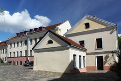 The old buildings in the Trinity Hill another name Trinity Suburb or Trojeckaje Pradmiescie. Is the oldest surviving district of Minsk. The historic Royalty Free Stock Image