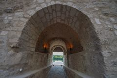 Old buildings tunnel. Historic interior Royalty Free Stock Photos
