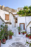Old buildings under the Acropolis in Anafiotika neighborhood in Plaka , Athens, Greece Stock Images