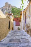 Old buildings under the Acropolis in Anafiotika neighborhood in Plaka , Athens, Greece Stock Photography