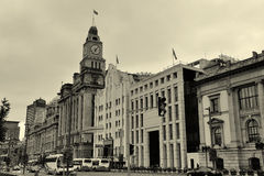 Old buildings. In Waitan of Shanghai in black and white Royalty Free Stock Image