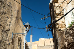 Old Buildings with Wires. Old Buidling in Narrow Street Stock Images