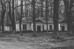 Old buildings in the woods stock photos