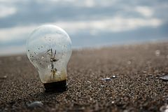 Old bulb. On the beach, message Stock Images