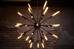 Old bulb electric lamp. In loft Stock Photos