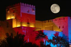 Old bulding. Old arabian bulding shotting at the night with color lighting Royalty Free Stock Photo