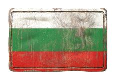 Old Bulgaria flag. 3d rendering of a Bulgaria flag over a rusty metallic plate. Isolated on white background Stock Photography