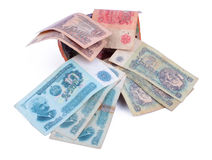 Old bulgarian banknotes. Different coupures Royalty Free Stock Photos