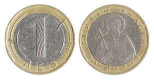 Old Bulgarian coin. Lev on the white background, (2002 year stock photo