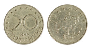 Old Bulgarian coin. On the white background, stotinki (1999 year Stock Photos
