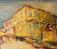 Old Bulgarian House in Golden Colors Stock Photos