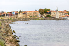 Old Bulgarian Nessebar from the sea Stock Photo