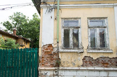 Old Bulgarian Rotting Wooden Window Stock Image