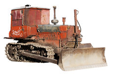 Old bulldozer isolated Royalty Free Stock Photography