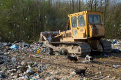 The old bulldozer moving garbage in a landfill Royalty Free Stock Photos