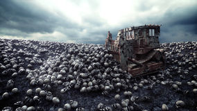 Old bulldozer and pile of skulls. Apocalypse and hell concept. 3d rendering. Royalty Free Stock Photography