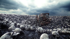 Old bulldozer and pile of skulls. Apocalypse and hell concept. 3d rendering. Royalty Free Stock Images