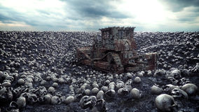 Old bulldozer and pile of skulls. Apocalypse and hell concept. 3d rendering. Stock Photos