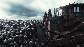Old bulldozer and pile of skulls. Apocalypse and hell concept. Realistic cinematic 4k animation.