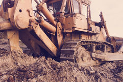 Old bulldozer ripper Stock Images