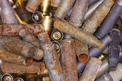Old bullet casings. A group of old and new used steel and brass bullet casings Stock Image