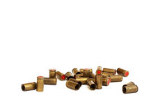 Old bullets. Closeup of old used bullets on white background Stock Images