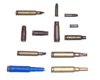 Old bullets and bullet cases - various calibre shells Royalty Free Stock Images