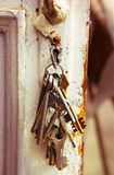 Old bunch of keys in the  keyhole Stock Image